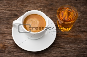 Top White ceramic Cup of coffee and glass of tea