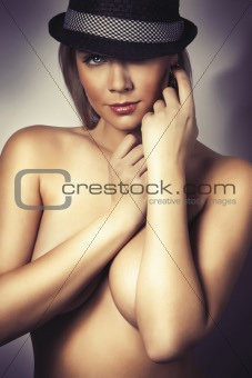 beautiful glamour girl with big breasts