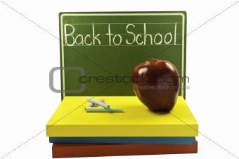 Chalk board and books