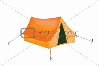 Tourist tent on white background