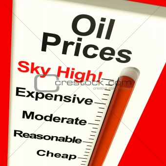 Oil Prices High Monitor Showing Expensive Fuel Costs