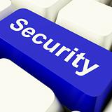Security Computer Key In Blue Showing Privacy And Safety