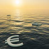Euros Floating To A Sunset Showing Money Wealth Or Earnings