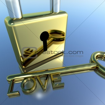 Padlock With Love Key Showing Romance Valentines And Lovers