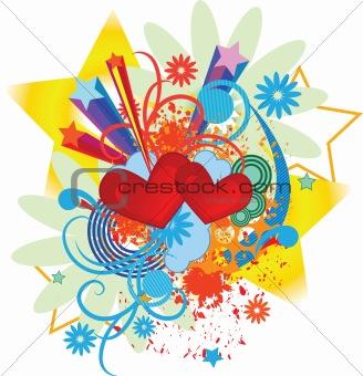 valentine pop-art background with hearts