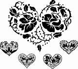 5 heart silhouettes