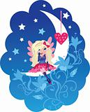 Cute Love angel cartoon vector
