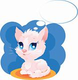 Cute thinking kitten vector illustration