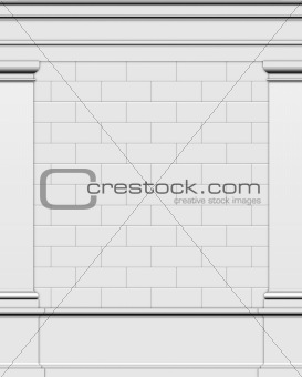 3d render side wall of a typical Greek Roman structure
