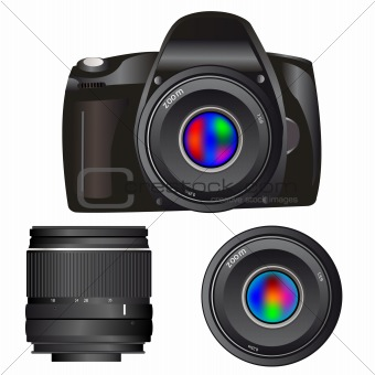 Camera and lenses on white background