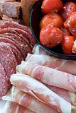Antipasto; meats and stuffed peppers