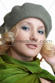cute blond with green scarf