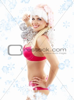 santa helper with mirror balls and snowflakes