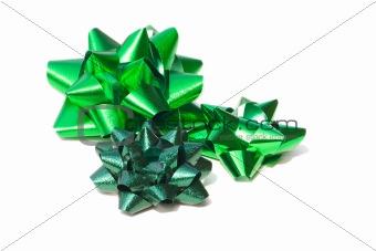green foil bows