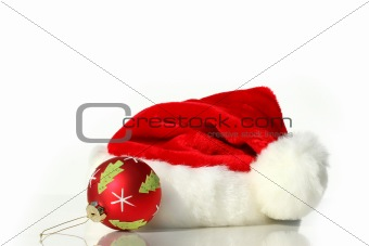 Santa hat with red christmas ball