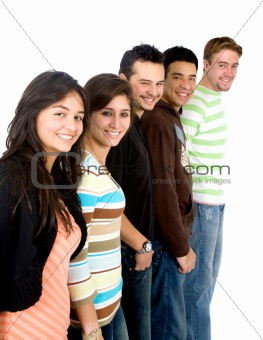 casual group of casual students smiling