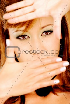fashion girl framing face