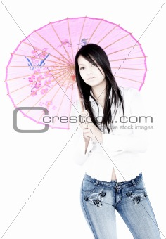 casual girl with a pink umbrella