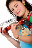 girl holding an electric red guitar