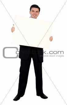 business man holding a banner add