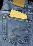 Jeans back pocket with black area for a message