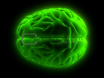 green glowing brain