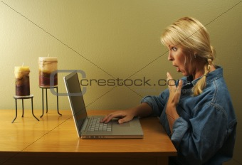 Woman Using Laptop Series