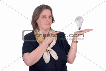 Business woman with an open hand