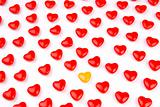 Red and yellow candy hearts