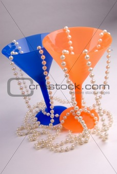 Blue and orange martini glasses