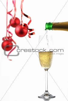 Champagne glass and Christmas decoration