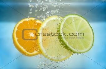Citrus slice in water