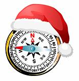 Compass in Santa's hat