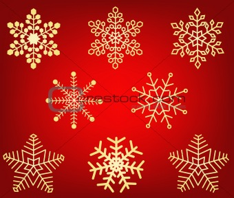 Collection of gold winter snowflakes