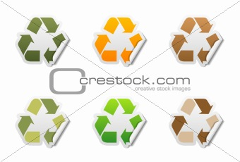 Recycle symbol stickers with peeled edge