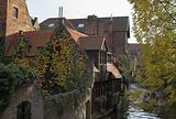 Ancient houses on a channel in Brugge