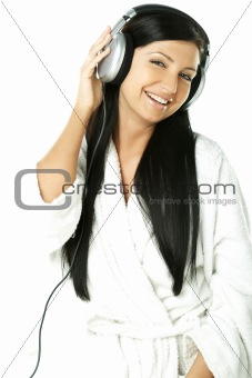 Beauty with headphones