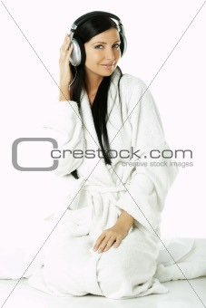 Beauty with headphones