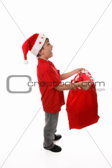 Catching objects in a santa sack concept