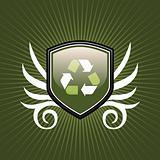Recycle symbol shield emblem