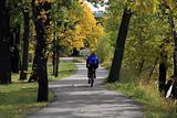 Biker in Calgary, Bow River, Fall