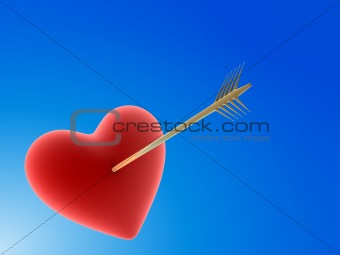 heart hit by a golden arrow