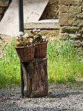 Wicker baskets with flowers.
