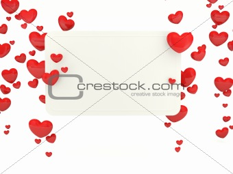 Greeting card with hearts isolated on white