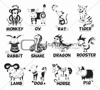 Animals from Chinese horoscope