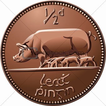 vector Irish halfpenny coin money with pigs