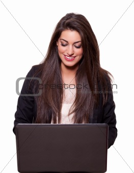 Beautiful young business woman with a laptop, smiling