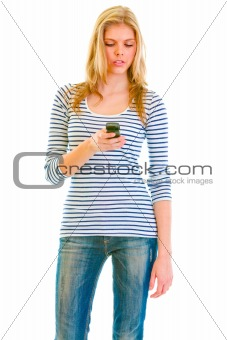 Portrait of teen girl writing sms