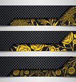 banner  hybrid flower combination abstract metal iron background