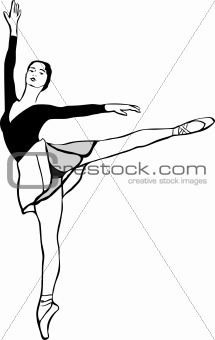 a ballerina on pointe in arabesque position